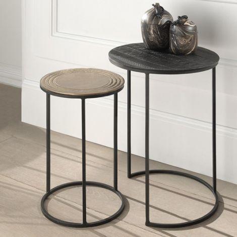 Lot de 2 tables d'appoint Donda - noir/or