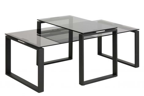 Set de 2 tables basses Nicola avec plateaux en verre - noir