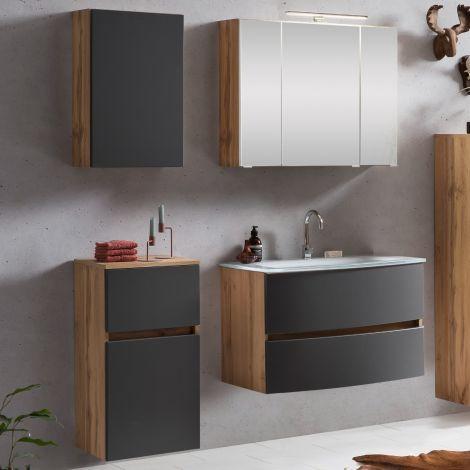 Ensemble salle de bains Kornel 7 à 4 pièces avec vasque blanche - chêne/gris mat