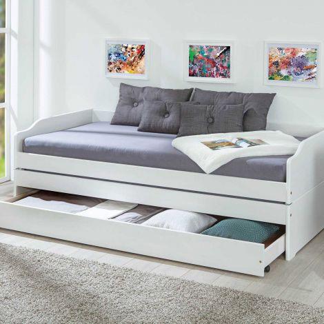 Lit banquette gigogne Lothar 90x200cm 3 couchages - white wash